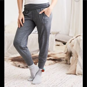 Aerie Foldover Jogger Charcoal Gray Sz Medium